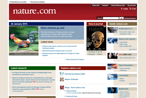 Nature Journal website