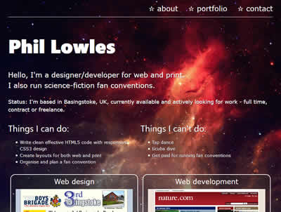 My portfolio website home page at tablet sized width
